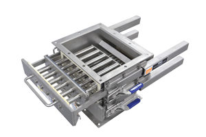 Dust tight sanitary easy to clean grate in housing