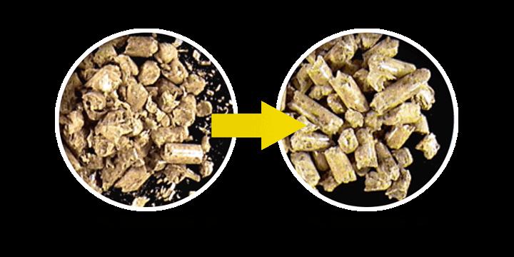Pelletron dedusting material